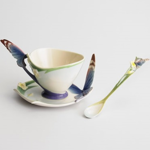Blue Butterfly Cup Saucer Spoon | fz00213