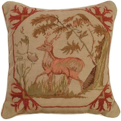 Lancaster Deer Needlepoint Pillow | Michaelian Home | MICNCU303
