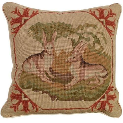 Lancaster Hare Needlepoint Pillow