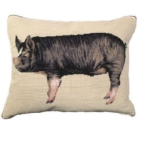 Berkshire Pig Needlepoint Down Pillow