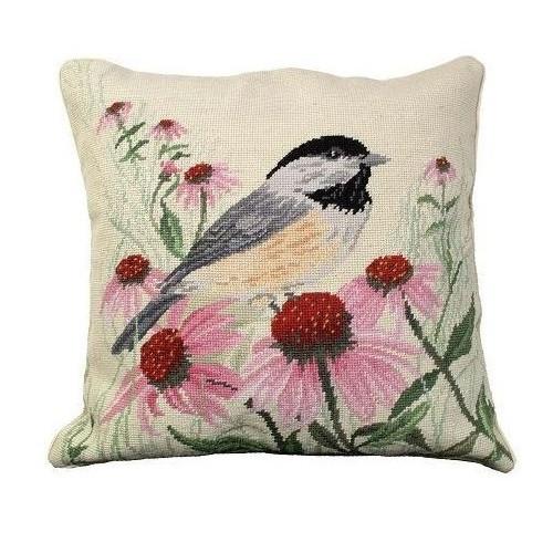 Chickadee Needlepoint Down Pillow | Michaelian Home | MICNCU-768