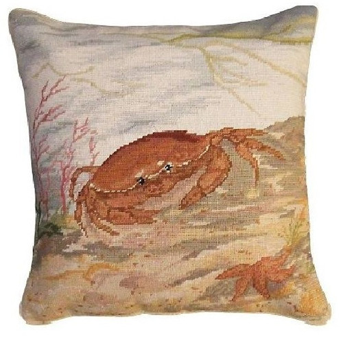 Crab and Starfish Needlepoint Down Pillow