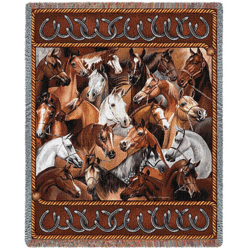 Bridled Horses Tapestry Afghan Throw Blanket