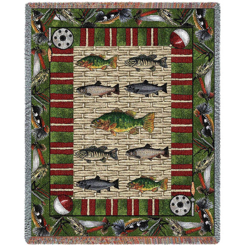Gone Fishing Fisherman Throw Blanket