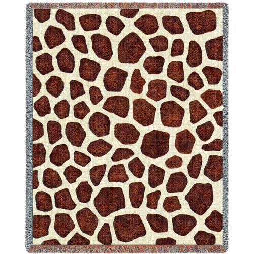 Giraffe Print Woven Throw Blanket
