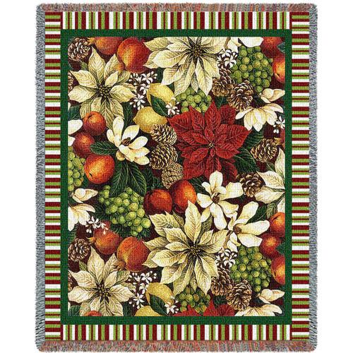 Magnolia & Poinsettia Tapestry Throw Blanket