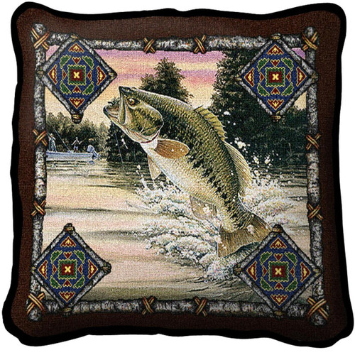 Fish Lodge Woven Throw Pillow
