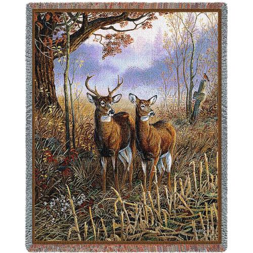 Country Treasures Deer Tapestry Afghan Throw