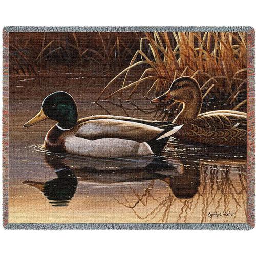 Quiet Couple Duck Woven Throw Blanket