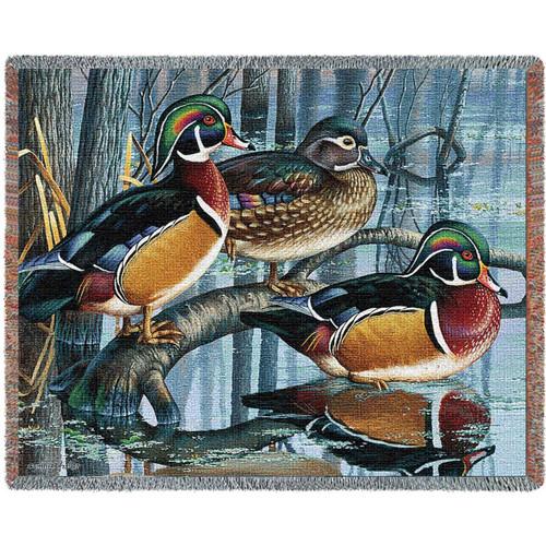 Backwater Woodies Wood Duck Throw Blanket