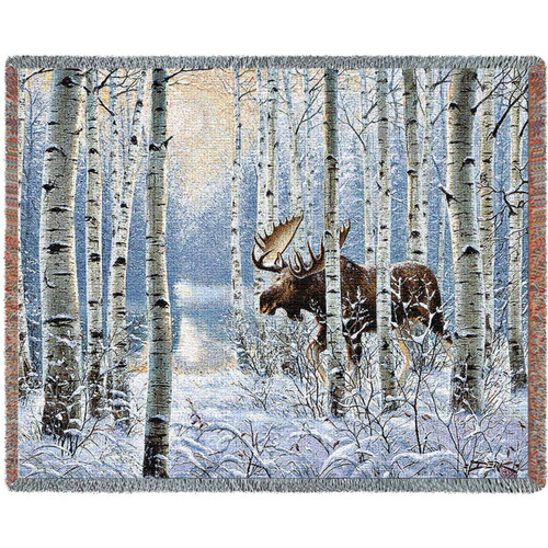 On The Move Moose Tapestry Afghan Throw Blanket