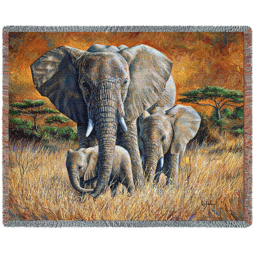 Loving Mother Elephant Tapestry Afghan Throw Blanket
