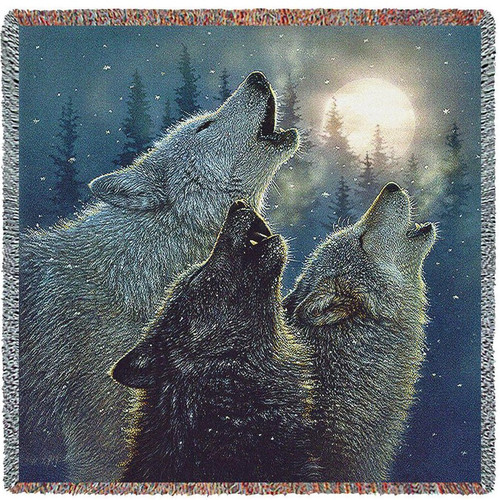 Wolf Tapestry Throw Blanket In Harmony