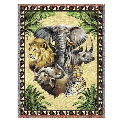 Big Five Wildlife Tapestry Afghan Throw Blanket
