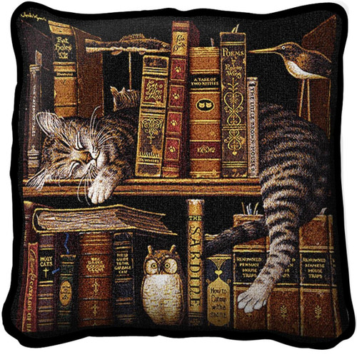Frederick the Literate Cat Woven Throw Pillow