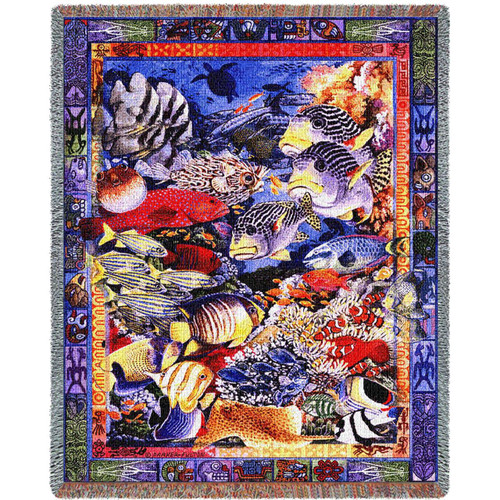 Undersea Woven Throw Blanket   Pure Country   pc857T