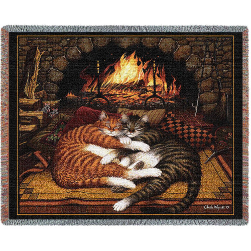 All Burned Out Cat Woven Throw Blanket