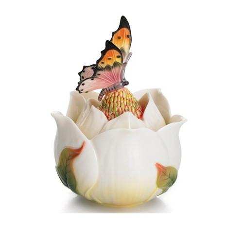 Floral Blossom Magnolia Lidded Jewelry Box