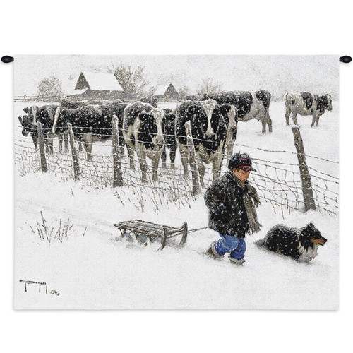 Curious Onlookers Cow Tapestry Wall Hanging