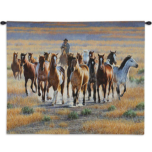 Bringing 'Em In Wild Horse Tapestry Wall Hanging