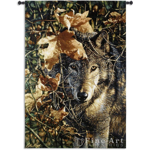 Wolf Tapestry Wall Hanging Autumn Eyes