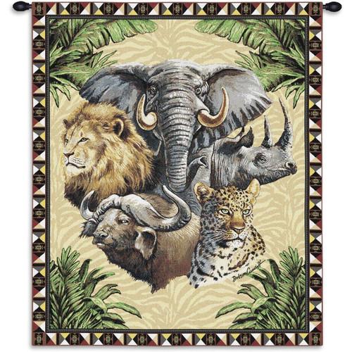 Big Five Safari Animals Tapestry Wall Hanging