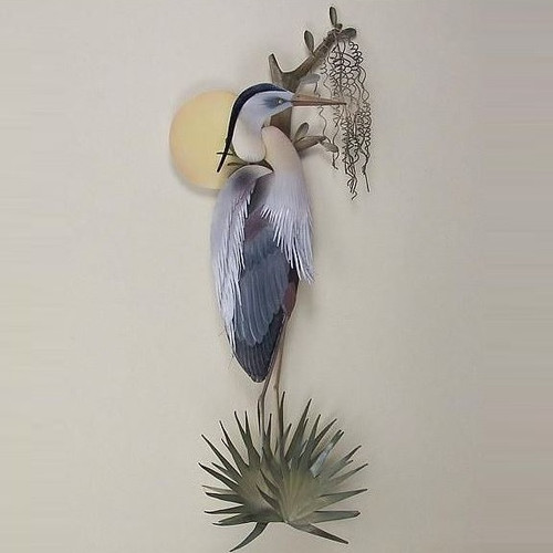 Heron Sunrise Wall Sculpture
