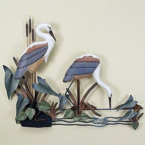 Herons Feeding Wall Sculpture