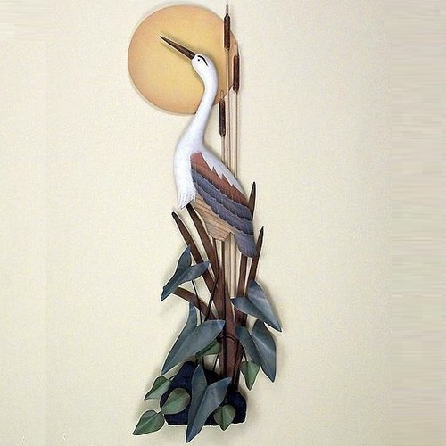 Heron with Moon Wall Sculpture