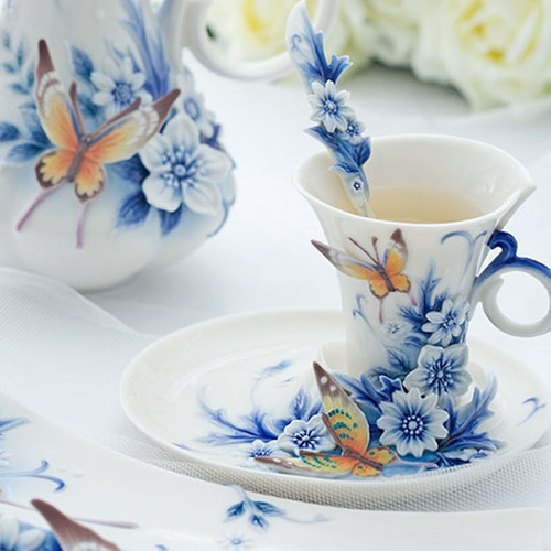 Butterfly Forever Wedding Cup Saucer Spoon | FZ02057