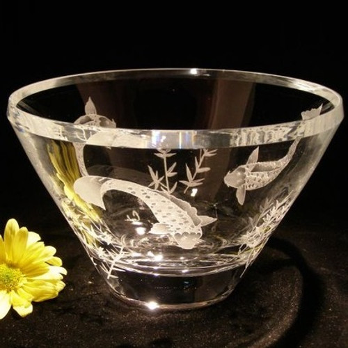 Koi with Bamboo Luminous Crystal Bowl | Evergreen Crystal | EC101-SS35 -2
