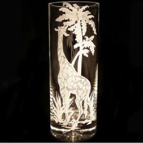 Giraffe Cylinder Crystal Vase