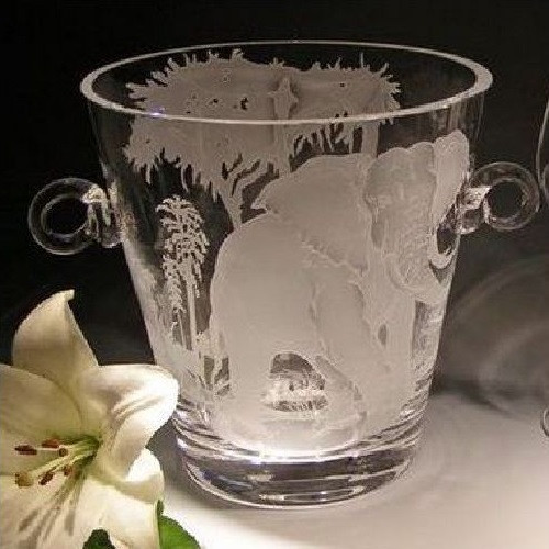 African Savannah Elephant Crystal Wine Cooler