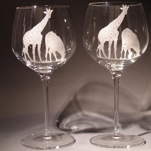 Giraffe Crystal 18 oz Wine Glass Set of 2