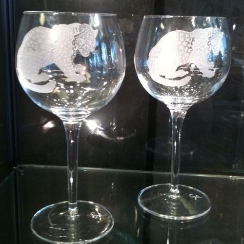 Leopard Crystal 18 oz Wine Glass Set of 2