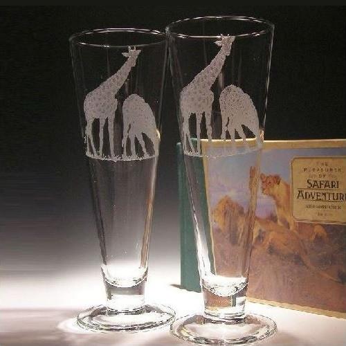 Giraffe Crystal Pilsner Glass Set of 2