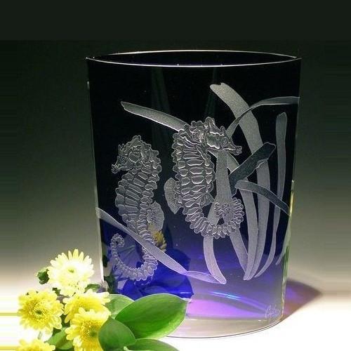 Seahorse Wedge Crystal Vase