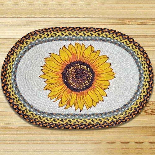 Sunflower Oval Patch Braided Rug | Capitol Earth Rugs | CEROP-381
