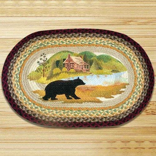 Used Oval Braided Rugs: Cabin Bear Round Braided Rug