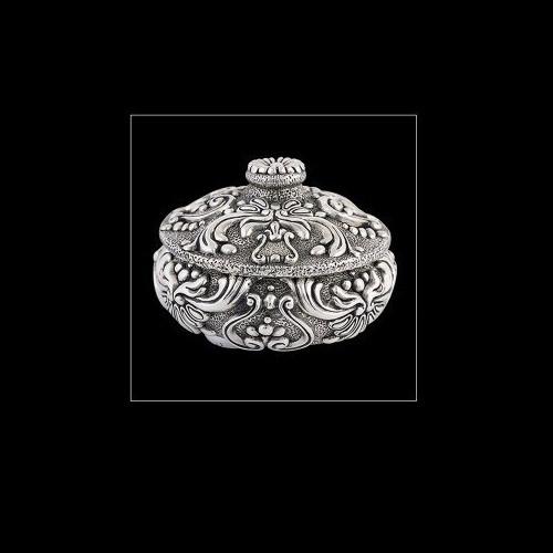 Silver Plated Round Jewelry Box   U302