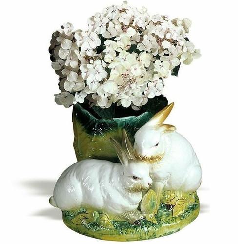 Bunny Pair Ceramic Vase