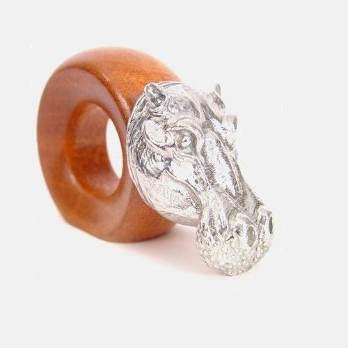 Hippo Wood and Pewter Napkin Ring