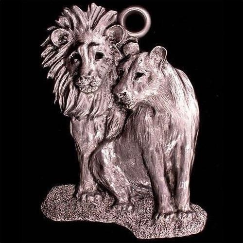 Lion Pair Pewter Ornament