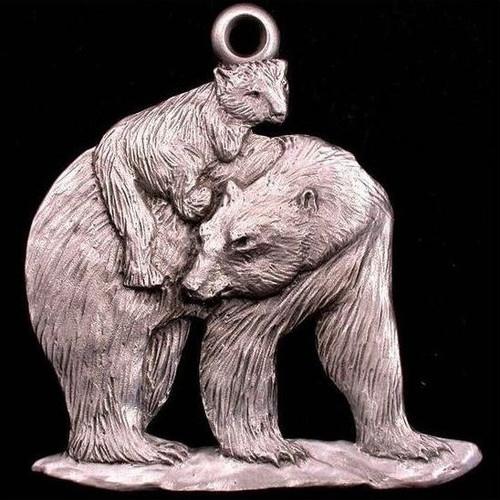 Polar Bear with Cub Pewter Ornament