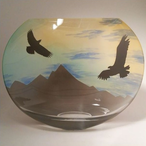 Eagle Mountain Scene Polish Art Glass Vase