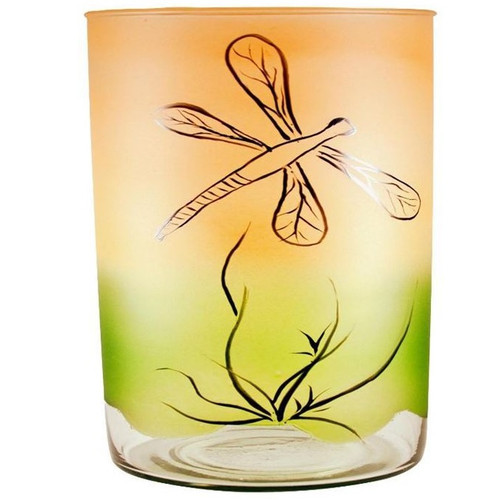 Dragonfly Art Glass Vase