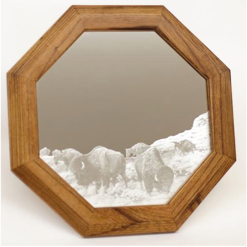 "Buffalo Oak Mirror ""Into the Herd"""