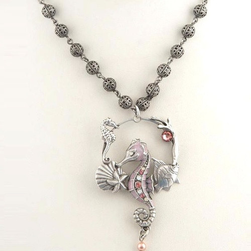 Seahorse Sea Life Hoop Rose Necklace | Nature Jewelry
