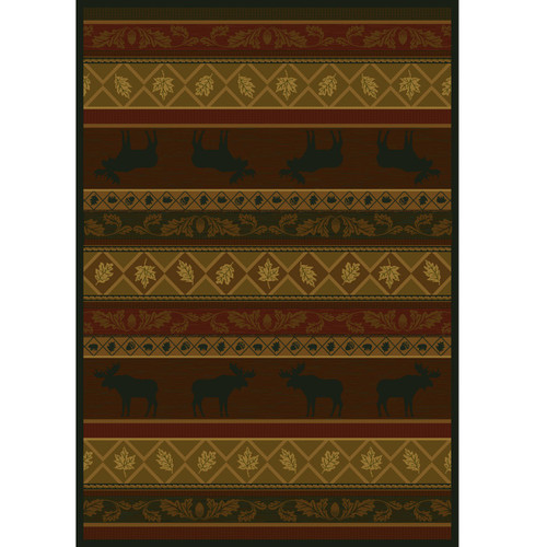 Moose and Leaves Area Rug