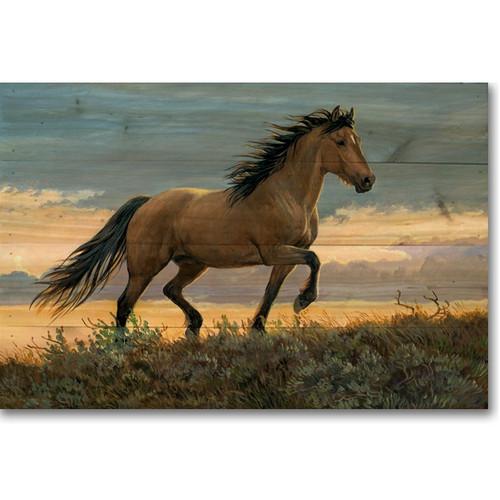 """Horse Wood Wall Art """"Buckskin Stallion"""""""